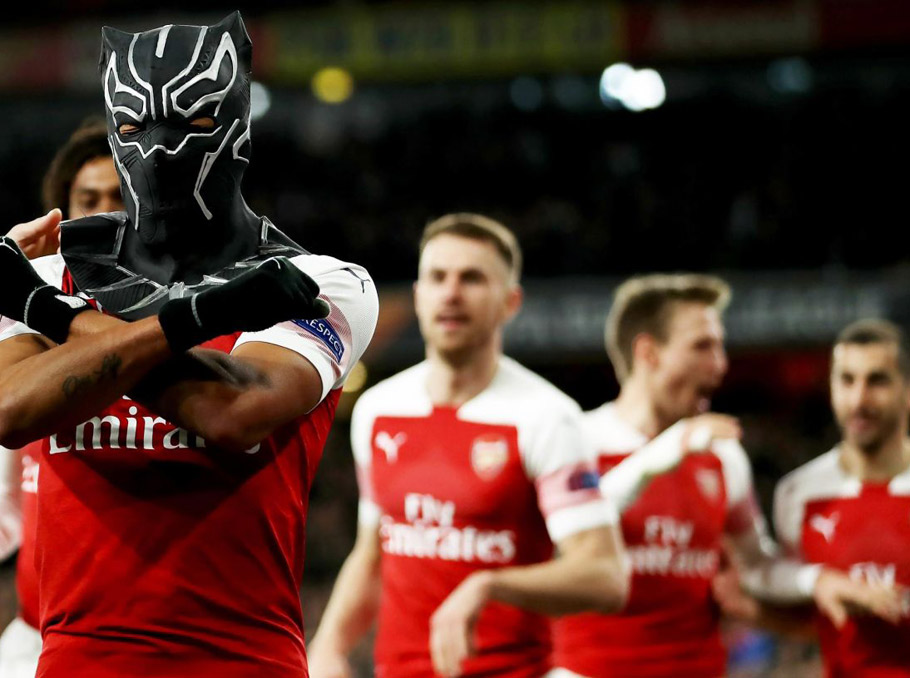 WATCH: Pierre-Emerick Aubameyang Celebrates Second Goal vs. Rennes With Black Panther Mask